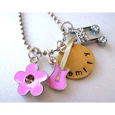 Personalized Enamel Pink Guitar Necklace Initial by CharmAccents via Polyvore