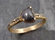 Fancy cut half moon Salt and pepper Diamond Engagement 14k yellow Gold Wedding Ring Rough Diamond Ring byAngeline 0870