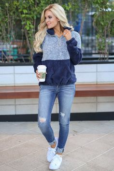 Meet Your Match Pullover - Navy 50 Best Spring Outfits Casual 2019 for Women - Fashion and Lifestyle Black Women Fashion, Look Fashion, Autumn Fashion, Fashion Outfits, Womens Fashion, Fashion Trends, Feminine Fashion, Fashion Ideas, Ladies Fashion