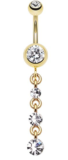 Golden Colored Journey Sparkle Belly Button Ring