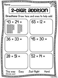 GRAAD 2 : Use base 10 blocks and place value to help understand adding 2 digit numbers and lots of other great addition and subtraction strategies Math Worksheets, Math Resources, Math Activities, Addition Worksheets First Grade, Math Addition, Subtraction Strategies, Math Strategies, Math Doubles, Second Grade Math