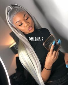 Excellent Photos grey wig Style Natural splendor hair pieces provide most basic appearance along with feel. Frontal Hairstyles, Baddie Hairstyles, Weave Hairstyles, Curly Hair Styles, Natural Hair Styles, Grey Wig, Gray Hair, Hair Laid, Wig Making