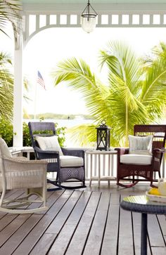Our quest for classic Americana porch furniture led us to a family business in Michigan that has been handcrafting award-winning wicker furniture for more than 100 years; it produced this exquisite Chatham Rocker and Side Table.