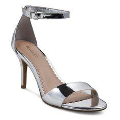 Women's Raz Metallic City Heeled Sandals Silver 8.5 - Tevolio