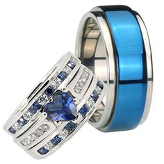 His and Hers Moveable Titanium 2.2CT Sterling Silver Blue Cubic Zirconia Wedding Ring Set