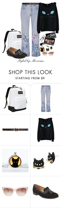 """College Casual Jeans Outfit"" by mozeemo ❤ liked on Polyvore featuring JanSport, Bliss and Mischief, Dorothy Perkins, WithChic, Bobbi Brown Cosmetics, Betsey Johnson, Kate Spade and John Lewis"