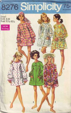 Simplicity 8276 Vintage 60s Beachwear Cover up and Robe Sewing Pattern Size S 8 10 Bust 31.5 32.5 on Etsy, $7.00