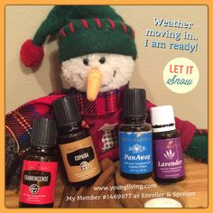 Weather changes are no longer a problem for me... Want to get some for you?? These are 4 of the 11 essential oils that come in the Premium Starter Kit! #youngliving #essentialoils #natural #health #wellness #oilinfusedliving #triharmonyoilers #DaretoLivetheLifeYouLove #lavender #snow #barometer #weather #frankincense #copaiba #panaway
