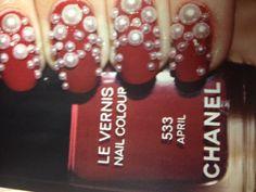 Red pearl nails Pearl Nails, Nail Designs, Nail Polish, Nail Art, Pearls, Red, Ideas, Nail Desings, Nail Polishes