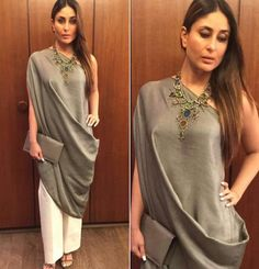 Kareena Kapoor wearing grey draped tunic with white pants by Payal Khandwala for her movie Ki & Ka success party.