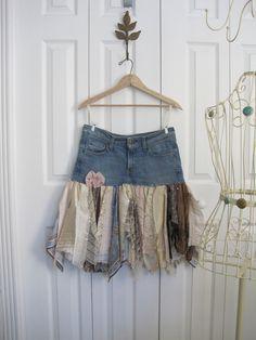 Boho pixie skirt denim skirt Upcycled denim small medium Ready to ship. $44.00, via Etsy.
