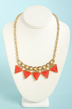 Focal Point Coral Triangle Necklace at LuLus.com! #lulusrocktheroad