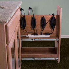 Cabinet Pullout Hair Appliance Holder Storage System (for Blow Dryer,
