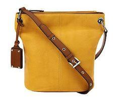 fb4848bd3d2b Tignanello Embossed Leather Adjustable Bucket Bag - QVC.com Denim Boots