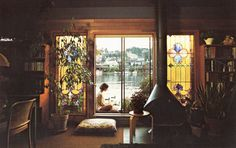 70s Sausalito houseboat interior ~ Sweet fireplace.