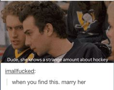 When girls know a strange amount about hockey, its a good thing!!