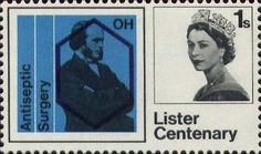 Lister Centenary 1s Stamp (1965) Lister and Chemical Symbols