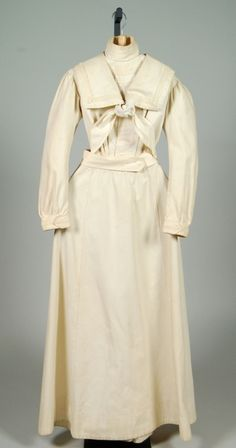 A circa 1895 cotton dress in the style of a sailor's uniform. Sailor suits and nautically inspired clothing were popular summer wear for men, women and children of all ages throughout the Victorian and Edwardian era.
