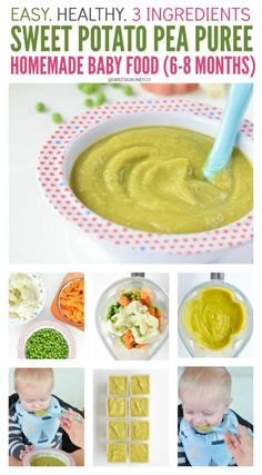 stage 2 baby food Sweet Potato Puree Baby Recipe with pea and cauliflower. An excellent stage 2 baby food recipe to introduce cauliflower to babies around 7 months. Gluten free, easy and vegetarian. Baby Carrot Recipes, Baby Puree Recipes, Homemade Baby Foods, Pureed Food Recipes, Sweet Potato Recipes, Baby Weaning Recipes Puree, Baby Food Recipes Stage 1, Healthy Recipes, Sweet Potato Puree Baby