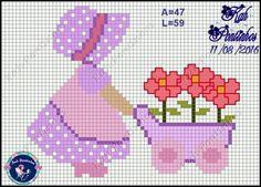 Cross Stitch Baby, Cross Stitch Patterns, Sue Sunbonnet, Pixel Pattern, C2c, Plastic Canvas, Crochet, Couture, Fictional Characters