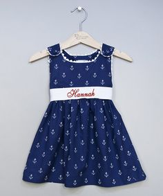 Take+a+look+at+the+Princess+Linens+Layette+Navy+Anchor+Personalized+Sash+Jumper+-+Infant,+Toddler+&+Girls+on+#zulily+today!
