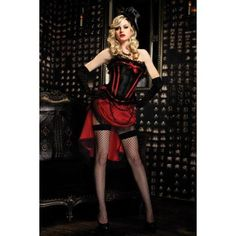 Enticing Burlesque Scarlett Corset with Lace Trim, Front Bow Detail#babydoll