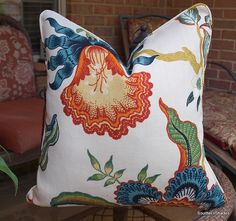 One or Both Sides -  High End Schumacher Hothouse Spark Pillow Covers with seam cording
