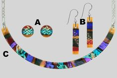 Gorgeous Amber Torc and earrings-Fused Dichroic Glass.   I took a class from Diane and made gorgeous fused glass pendants out of Dichroic glass. Pictures are not reflective of the intense colors, vibrant and deep hues.....a must see!  Located in North Auburn area......