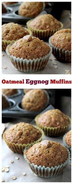 Oatmeal Eggnog Muffins - Christmas morning just got BETTER! Muffin Recipes, Breakfast Recipes, Dessert Recipes, Delicous Desserts, Dessert Bread, Breakfast Time, Breakfast Ideas, Cake Recipes, Eggnog Recipe