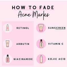 Acne Skin, Acne Prone Skin, Skin Tips, Skin Care Tips, How To Fade, Skin Care Routine Steps, Acne Marks, Face Skin Care, Homemade Skin Care