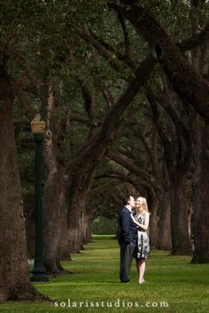 Engagement portrait taken at Rice University - love the trees