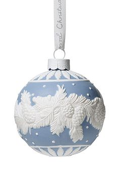 Wedgwood Jasperware SNOWFLAKE TEARDROP Christmas Ornament  Blue NEW IN BOX!