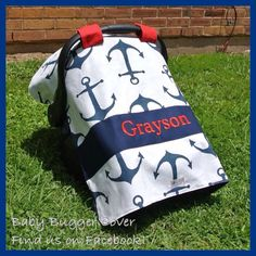 Nautical Navy Blue Anchors with Red Accents Personalized 5-in-1 Custom Car Seat Canopy and Nursing Cover on Etsy, $40.00