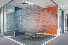 Get rid of venetians in board room and put frosted laminate. This might lighten that room up?  Flight Centre Office fitout #graphics