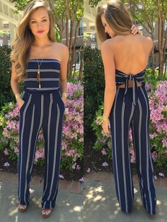 Stripe Jumpsuit  #swoonboutique