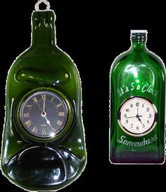 """These """"Time In A Bottle Clocks"""" can be standard full size bottles, or slumped flat to hand on wall. Assorted bottles and colors available. Fill bottle with colored marbles or other items for added decor!"""