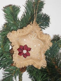 Burlap Star Christmas Ornament With Pearls by DollClothesExpress