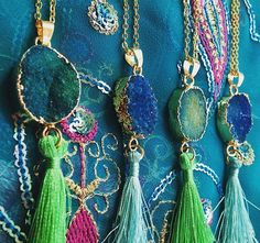 Beautiful aqua/green druzy pendant chains! Summer bohemian design.