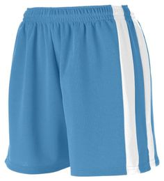 Augusta Sportswear Big Girl's Wicking Mesh Powerhouse Short Columbia Blue/White Medium. Double-needle hemmed bottom. Wicks moisture away from the body. Ladies' fit. Covered elastic waistband with inside drawcord. 5-inch inseam.