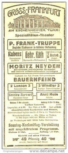 Original-Werbung/ Anzeige 1915 - GROSS-FRANKFURT/ ESCHENHEIMER TURM- SPEZIALITÄTEN-THEATER  FRANKFURT a.M.-ca.…