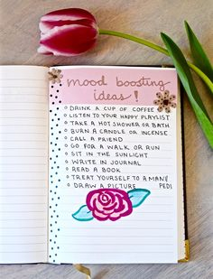 Starting a bullet journal is so easy! Here is a page with lots of ideas to boost your mood!