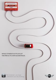 Mini Connected: Tape While others play playlists the Mini is its own soundtrack. Mini Connected: Tape While others play playlists the Mini is its own soundtrack. Clever Advertising, Advertising Poster, Advertising Campaign, Advertising Design, Marketing And Advertising, Guerrilla Marketing, Street Marketing, Online Advertising, Online Marketing