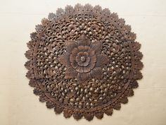 Thai Artifact Natural Wood Carved Wall Art Panel. Asian Home Decor. Floral Wood Wall Hanging from Thailand. (3'x3' ft. dark brown) $189.00