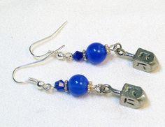 Jewish jewelry and women's kippot handmade by Linda B of LinorStore: Hanukkah Dreidel Earrings 1 pair - pewter dreidel charm earrings