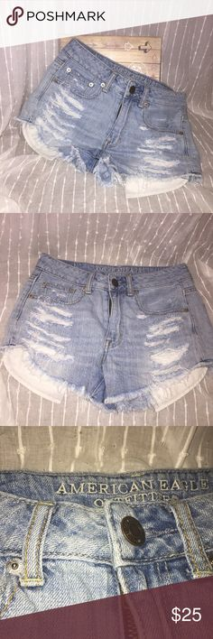 American Eagle High Waisted Ripped Jean Shorts In great condition! No stains, working zipper. Light wash. Distressed looked. Super cute! American Eagle Outfitters Shorts