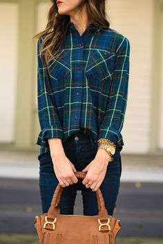 DARK DENIM + PLAID TOP WITH POPS OF RED | Sequins & Things