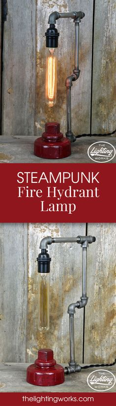 Steampunk Industrial Machine Age Lamp Take a trip to the past with this Steampunk Fire Hydrant Lamp, guaranteed to be a conversation piece!