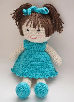 "Crochet Doll Pattern Amigurumi PDF  instant by Crochet365KnitToo ~ what toddler or little girl wouldn't love hugging this cutie! ~ CROCHET ~ approx. 10"" tall - depends on hook size you use"