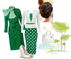 """Green & White"" by estes9011 ❤ liked on Polyvore"