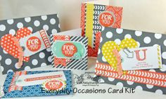 www.PattyStamps.com - could polka dots be any more fun!?  I love the patterns in the Everyday Occasions Card Kit from Stampin' Up! - 20 QUICK and easy cards plus a stamp set and ink!